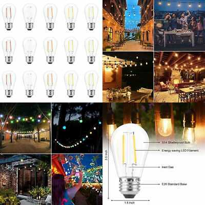 15Pcs Colored 2W Shatterproof LED S14 Edison Light Bulbs 5 Color Dimmable 20W Eq