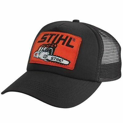 buy online 8505f 94177 Stihl BLACK Mesh Trucker Style Cap w  Orange Chainsaw Stihl Patch