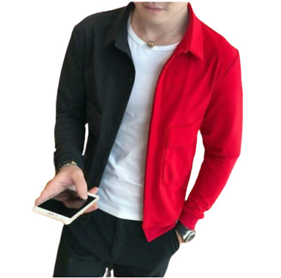 Men's Short Mixed Color Lapel Collar Long Jacket Slim Tops Coat Outwear Blazer