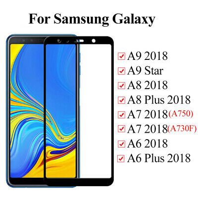 For Samsung Galaxy A9 A7 A8 Plus 2018 Tempered Glass Screen Protector Cover Sw