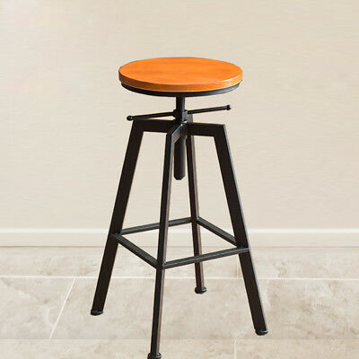 Industrial Vintage Rustic Bar Stool Retro Barstool Wood Chair Kitchen Adjustable