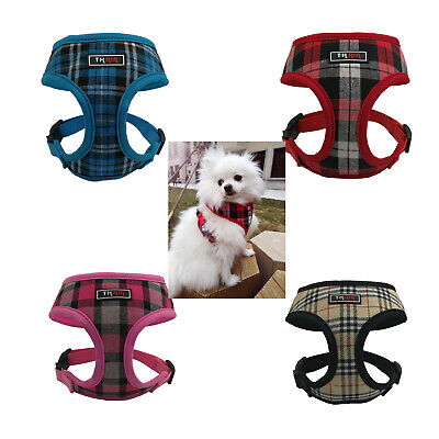 Dog Harness Small Medium Mesh Adjustable plaid pattern Harness No Pull Pink Red