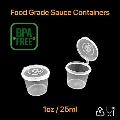 100 Disposable Plastic Takeaway Sauce Containers Cups 1Oz 30ml with hinged lids