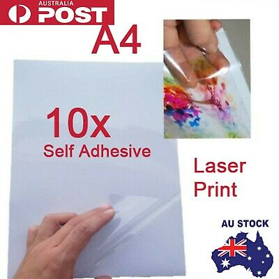 10x A4 Transparent Clear Glossy Self Adhesive Sticker Paper Label Laser  Print