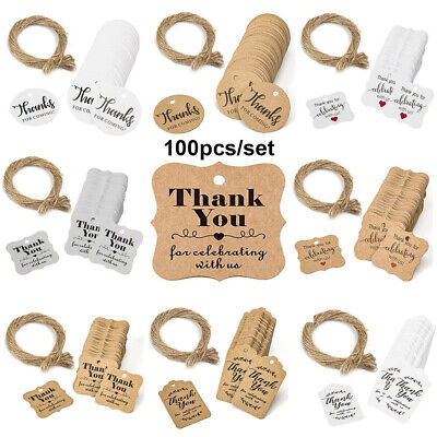 "100pcs Kraft Paper Hang Tags Wedding Party Favor ""thank you"" Hanging Label UK"