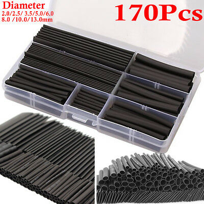 170PCS Heat Shrink Tubing Cable Tube Sleeving  Wire Wrap Electrical Heatshrink