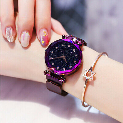 Luxury Women Starry Sky Watch Magnetic  Strap Buckle Watches Stainless Steel UK