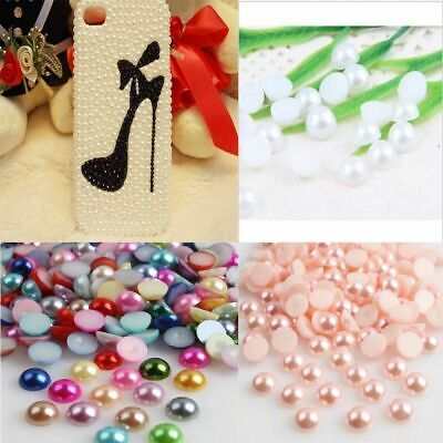 Bulk Lot Half Pearl Round Bead Flat Back 2-8mm Scrapbook for Craft Flat Back Y1