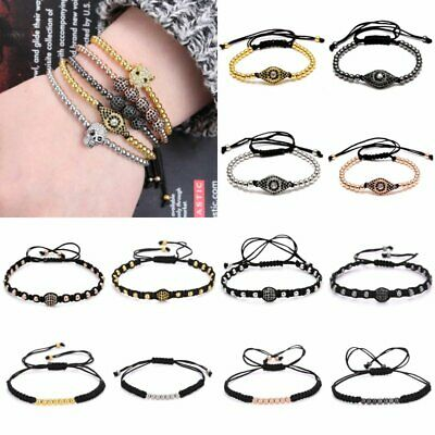 4mm Eyes Copper Beads Black Rope Handmade Braided Bracelet Bangle Unisex Jewelry