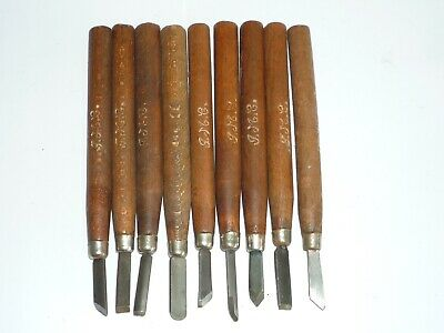 Vintage set of 9 Chip Carving Chisels by GME Tools