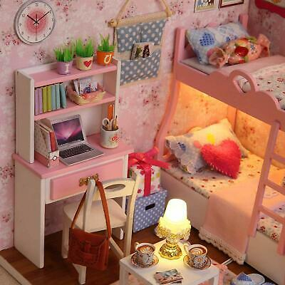 OGRMAR WOODEN DOLLHOUSE Miniatures DIY House Kit With Cover and Led  Light-Sweet