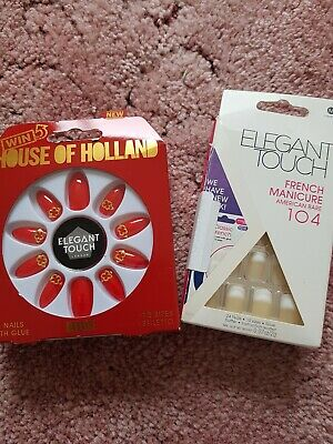 ELEGANT TOUCH False Nails- 2 packs 1 x house of Holland red 3D 1 x french