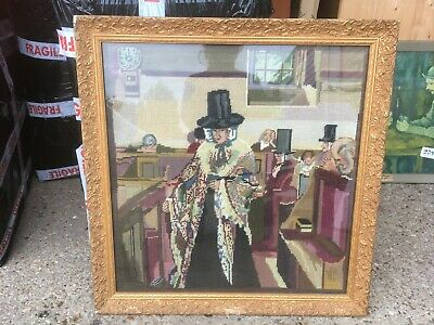 "Vintage Antique Gold Framed Tapestry Wall Hanging 24x24.5"" 61x62cm"
