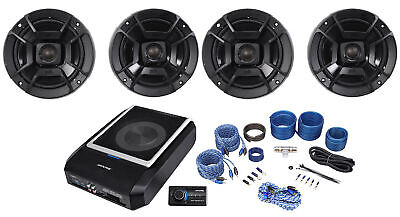 "ALPINE PWD-X5 Slim Under-Seat Powered Subwoofer+Wire Kit+(4) Polk 6.5"" Speakers"