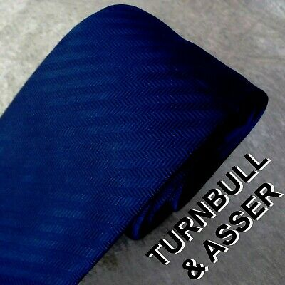 a8fcefbe9b5e TURNBULL & ASSER Tie solid BLUE Silk Twill Made in ENGLAND SKINNY British  Beauty