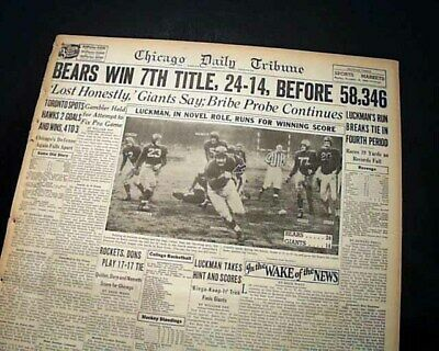 357b977a Best CHICAGO BEARS Wins NFL Pro Football Title vs. NYG Giants 1946 Old  Newspaper