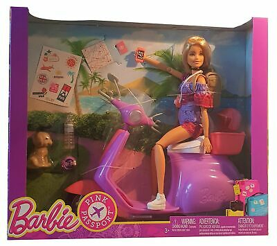 Mattel Barbie doll with scooter Pink Passport FNY34 with accessories dog new