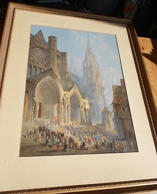 1865 English Architectural Town Procession Scene Photogravure Print L.J.Wood