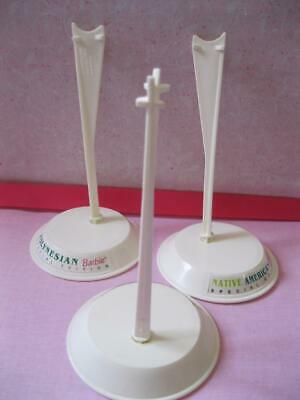 PLAIN-NEW MATTEL BARBIE Doll WHITE/IVORY STANDS Lot of 3-Round Straddle Base SET