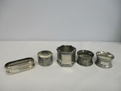 5 Antique Silverplate Napkin Rings