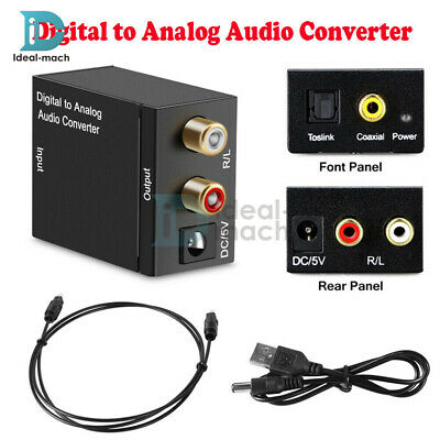 Digital Optical Coaxial Toslink to Analog Audio Converter Adapter RCA L/R 3.5mm