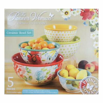 The Pioneer Woman Vintage Collection 5 Piece Ceramic Bowl Set NEW in Retail Box