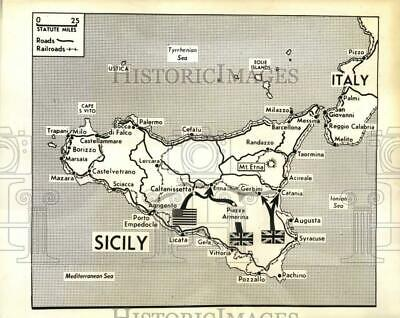 1943 Press Photo Map showing Allied invasion of Sicily in World War II
