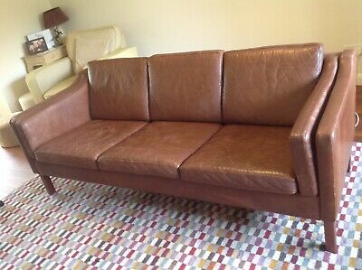 Retro 1950s 1960s 1970s Vintage Danish Leather 3 Seater Sofa