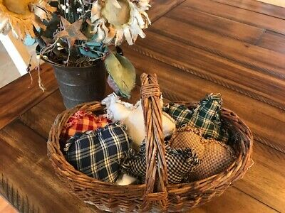 Farmhouse Plaid Ornies Bowl Fillers PrImITive Mix Green Blue Hearts STars Red