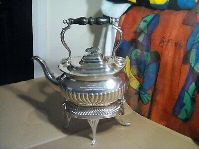 Antique Silver Plate Spirit  Kettle on Stand with Burner-john Gilbert & sons....