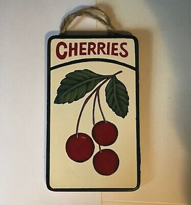 """CHERRIES Wooden Country Kitchen Primitive CHERRY fruit wall Decor Sign 3.5x6"""""""