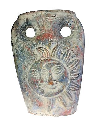 Primitive Large Sun and Moon Celestial Face Pottery Garden Vase Double Handle