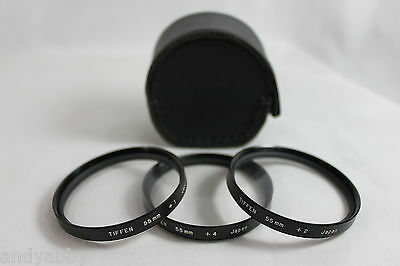 Vintage Tiffen 55MM Close Up Lens Set  1, 2 and 4 Filters With Leatherette Case