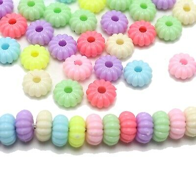 200pcs Mixed Pastel Color Acrylic Fluted Rondelle Disc Beads 10X4mm Spacer