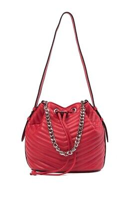 30ad3be16a Steve Madden Marge Chevron Quilted Drawstring Bucket Bag Red Msrp:$88