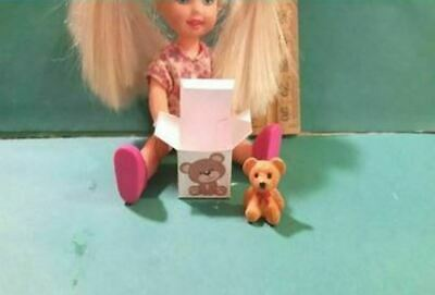 Barbie 1:6 Miniature Toy Bear and Box for Kelly or Tommy