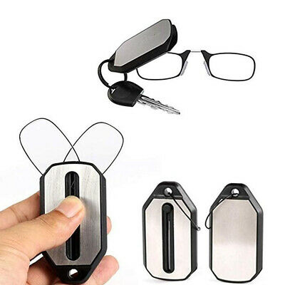 Mini Portable Clip Nose Reading Glasses With Keychain Magnifier Folding Reading