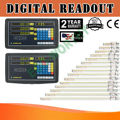 2/3 Axis Digital Readout TTL Linear Glass Scale DRO Encoder Kit Milling Lathe US