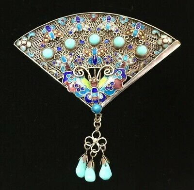 Antique Chinese Gilt Sterling Silver Turquoise Fan Pin