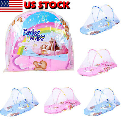US Portable Foldable Soft Baby Kids Infant Bed Dot Zipper Mosquito Net Tent Crib