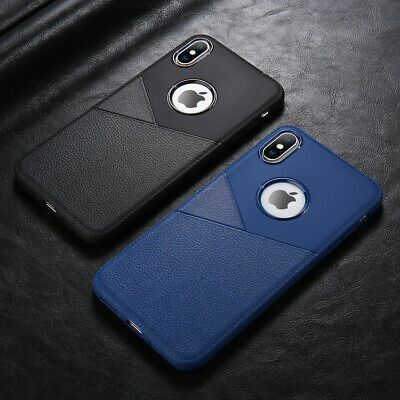 For iphone Xs Max Xr X 8 7 6S Silicone Rubber TPU Leather Slim Back Cover Case