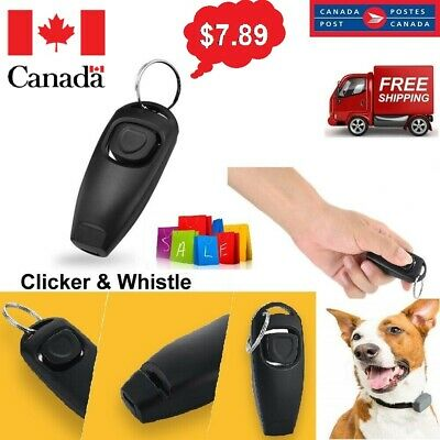 Black 2-in1 Pet Training Clicker Whistle Click Trainer Obedience Dog Puppy Ca SL