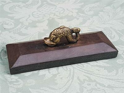 19th Century Victorian Brass and Cast Iron Desktop Paperweight with Fish Handle