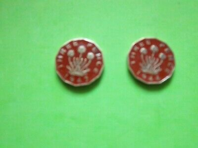 2 GEORGE VI THREE PENCE COINS Rx ENAMELLED IN RED [B205] 1942+1944
