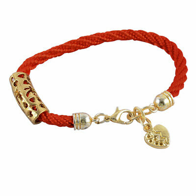 Réglable en nylon corde tresse Décor Coeur Bracelet Bangle ton or rouge