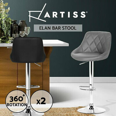 2x Artiss ELAN Bar Stools Kitchen Swivel Bar Stool Gas Lift Chairs Black Grey