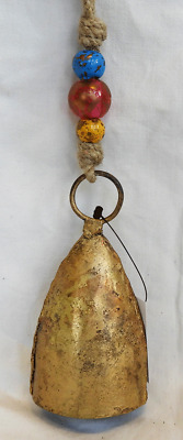 Cone Shape Hand Made Indian Cow / Goat Bell on Beaded Rope - Door Alarm - BNIB