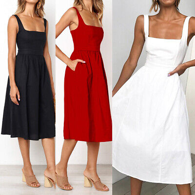 Women Casual Summer Strap sleeveless Dress Mid-Calf Ladies Elegant Sold Sundress