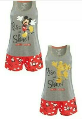 PRIMARK Ladies Girls MICKEY MOUSE Pyjamas Pjs Vest Top Shorts Pyjama Set DISNEY
