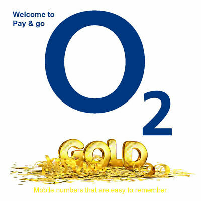 O2 Pay As You Go Gold VIP Easy  Memorable Mobile SIM Card Numbers